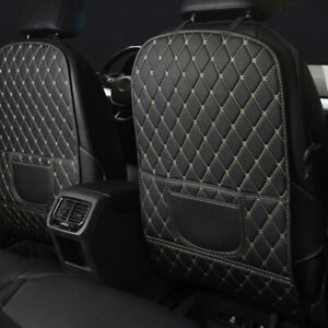 White Car Seat Back Anti Kick Pad Mat PU Leather Protector Cover Accessories