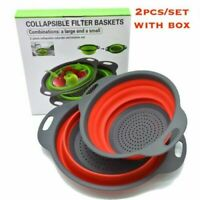 2Pcs Set Collapsible Foldable Silicone Colander Fruit Food Grade Strainer USA