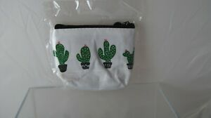 Canvas Zippered Coin Purse - Cactus - New in Bag