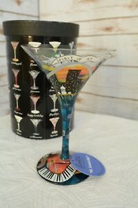 "New in Box - Lolita LOVE MY MARTINI  ""St. Louis-tini"" 7 oz PAINTED martini glass"