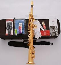 Professioanl TaiShan Built-in Neck Soprano Saxophone Gold Straight Sax High F#