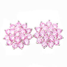 Dazzling Pink Fire Cubic Zirconia Gem Platinum Plated Stud Earrings 1 /2""