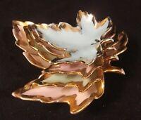 Vintage Pastel Color Porcelain Nesting Leaves/Trinket Dishes Set of 4 Gold Trim