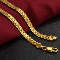 Fashion 18K Gold Plated Stainless Steel Flat Necklace Chain Men Women Jewelry