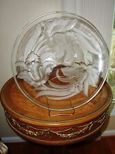 VERYLS Frosted Glass Orchids Charger Centerpiece 1930 1950 SIGNED GORGEOUS!