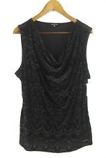 Ellen Tracy NEW Black Women's Size XL Crushed Velvet Print Top Draping Neck $59