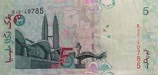 RM5 Zeti sign Paper Note Last Prefix BJ 2140785