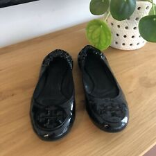 Tory Burch Reva Patent Leather Black Women's Ballet Flats Size 7.5