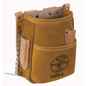 5-pocket tool pouch - leather | tools klein storage belt portable brown tape bag