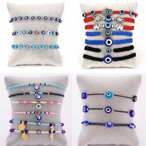 6Pcs/set Blue Evil Eye Lucky Bracelet 7 Knots Protection Women Jewelry Wholesale