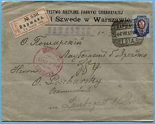 RUSSIA EMPIRE 1903 KINGDOM OF POLAND WARSAW TO LAUBEGAST GERMANY REG. COVER