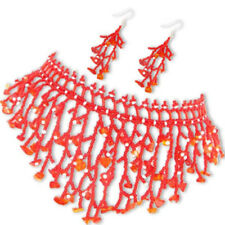 NEW RED GLASS BEADED NECKLACE HOOK EARRINGS FASHION  SET S36/5