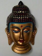 **Beautiful** Small Painted Buddha Wall Plaque Mask