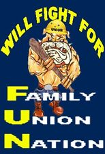 UNION STICKERS, FIGHT FOR FAMILY UNION NATION, HARD HAT STICKER, CU-2