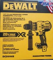 DEWALT Dc996b 20V  XR® BRUSHLESS CORDLESS 3-SPEED HAMMER DRILL/DRIVER (TOOL NEW