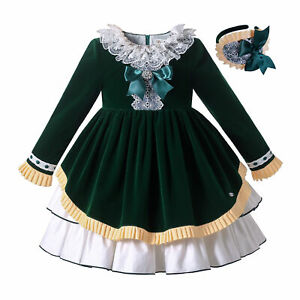 Traditional Girls Party Dress with Headband Christmas Outfit Lace Trim Green
