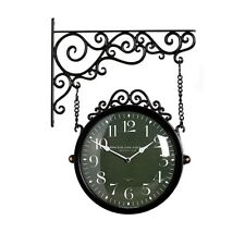 Antique Modern Double Sided Wall Clock Decor Modern Station Clock - M250Brown