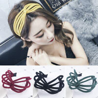 Ladies Girls Headband Twist Hairband Bow Knot Cross Tie Cloth Headwrap Hoop
