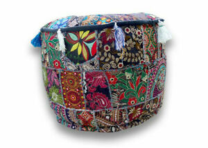 Round Pouf Ottoman Cover Vintage Patchwork Indian Pouffe Cover Beige Footstool