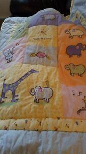 Carter's John Lennon Real Love Blue Jungle Animals Crib Quilt Blanket Comforter