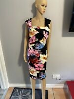 Womens Lipsy Black/Pink Floral Knee Length Bodycon Style Dress BNWT Size 14