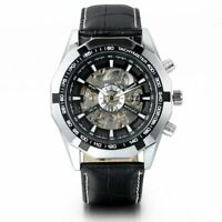 Mens Watch Mechanical Skeleton Dial Black Leather Band Auto Luxury Wristwatch