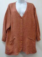 Flax Large Orange Black Womens Shirt Top Button 3/4 Sleeve 100% Linen Pockets