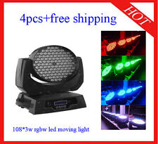 Led Moving Head 108*3W Wash RGBW Stage Lighting Professional 4pcs Free Shipping