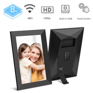 Digitaler Bilderrahmen WLAN 8'' IPS 1280x800 Touchscreen 16GB Video APP Schwarz