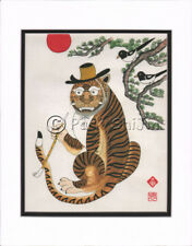Korean Art Rice Paper Print Magpie Tiger Matted #004r