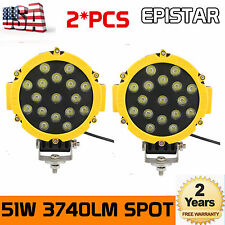2x 7''inch 51W CREE LED ROUND SPOT WORK DRIVING LIGHT OFFROAD TRUCK Boat YELLOW