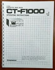 Pioneer CT-F1000 Cassette Tape Deck Owners Manual