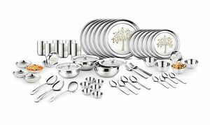 Stainless Steel Dinner Set - 61 PCs Life of Tree Design Plates Bowl Glass Spoon