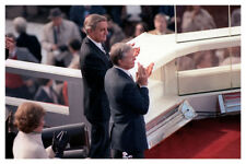 Jimmy Carter With Walter Mondale at Reagan Inauguration 8x12 Silver Halide Photo