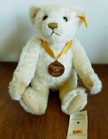 "2000 Millennium Steiff Teddy Bear Blonde Wool Jointed 12"""