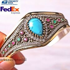 Turkish Jewelry 925 Sterling Silver Turquoise Ruby Emerald Bracelet Bangle Cuff