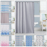 Fabric Shower Curtain Printed Extra Wide Long Waterproof Polyester With 12 Hooks