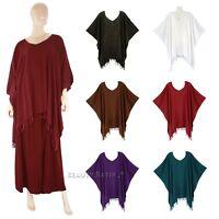 Boho Women Solid Tunic Blouse Kaftan Caftan Top Plus Size 1X 2X 3X 4X 22 24