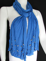 Women Chic Soft Fabric Fashion Blue Scarf Long Necklace Silver Metal Stars Studs