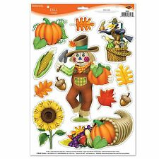 1 Sheet FALL Thanksgiving Party Decoration Window Clings SCARECROW SUNFLOWER