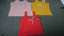 Bnwt Ladies Bundle Of Vest X 3 Size 22-24 Red, Yellow, White Striped
