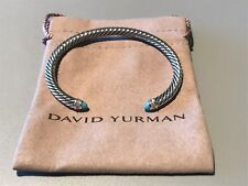 David Yurman Sterling Silver Cable Classic Bracelet With Turquoise & Diamond 5mm