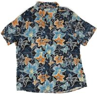 Mens Margaritaville Shirt Size XXL Rayon Floral Hawaiian Blue Short Sleeve