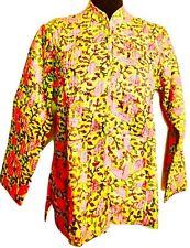 Women 100% Cotton Floral Winter Warm Jacket Size Large Green