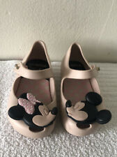 Mini Melissa Pink Rose Minnie Mickey Mouse Mary Jane Flats Shoes Girls Sz 6