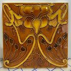 Rare Art Nouveau majolica tile embossed 6 x 6 Inch Collectible GOLDEN FLOWER