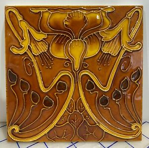 Set of 10 Rare Art Nouveau majolica tile embossed 6 x 6 Inch Collectible #3