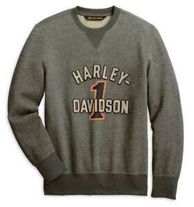 New Harley-Davidson® Men's #1 Racing Logo Pullover Sweatshirt Black 96055-20VM