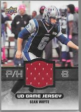 2014 Upper Deck CFL Game Jersey Sean Whyte GJ-SW Alouettes