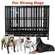 48'' Heavy Duty Metal Crate Dog Cage Square Tube Kennel Playpen w/ Wheels Tray